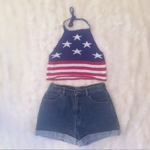 AKIRA 4th of July Knit Halter with Stars & Stripes